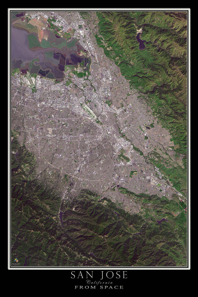 San Jose California From Space Satellite Poster Map by TerraPrints.com. Available in multiple sizes with free shipping in the USA.