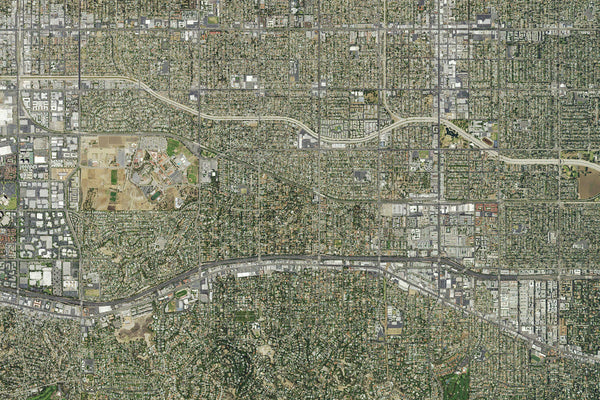 San Fernando Valley California From Space Satellite Poster Map