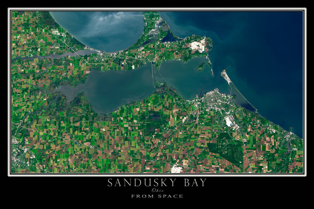 Sandusky Bay Ohio From Space Satellite Poster Map - TerraPrints.com