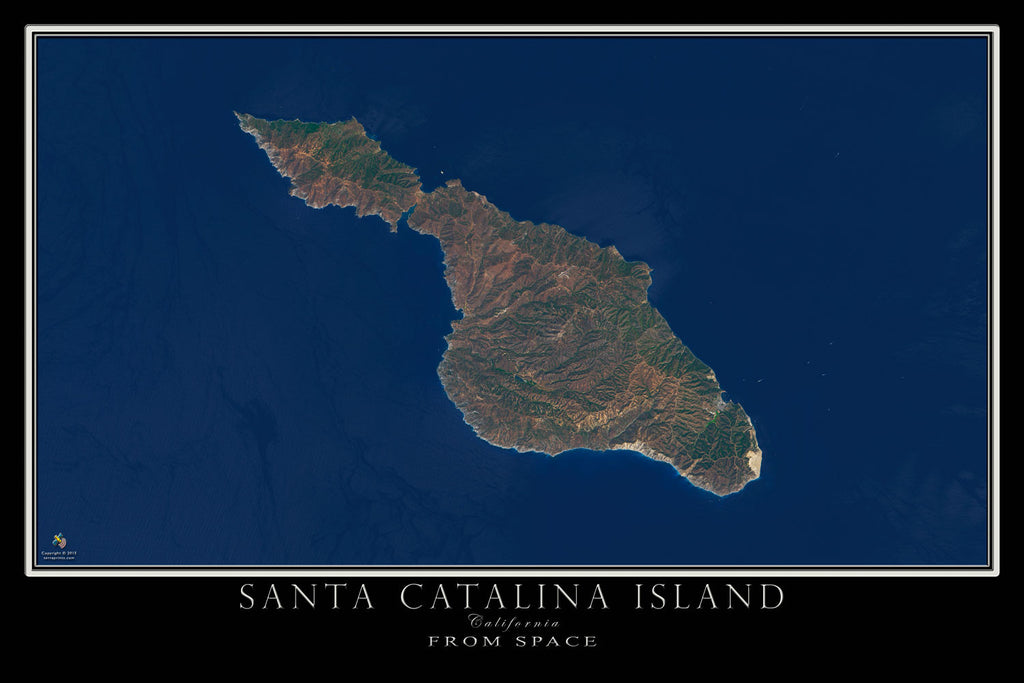Santa Catalina Island California From Space Satellite Poster Map by TerraPrints.com. Available in multiple sizes with free shipping in the USA.