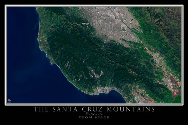 Santa Cruz Mountains California From Space Satellite Poster Map - TerraPrints.com