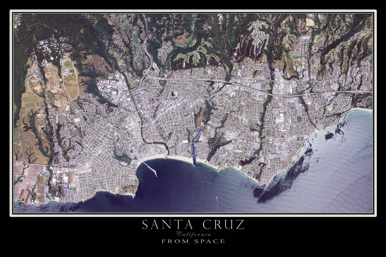 The Santa Cruz California Satellite Poster Map