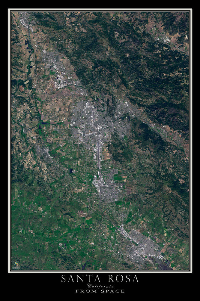 Santa Rosa California From Space Satellite Poster Map - TerraPrints.com