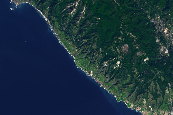 Santa Cruz Mountains California From Space Satellite Poster Map