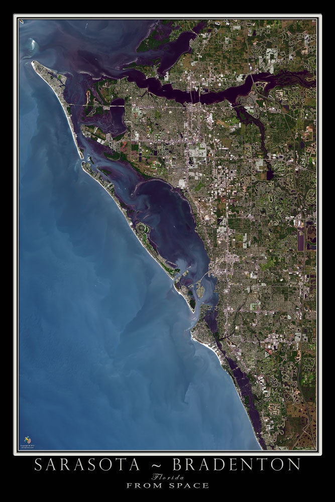 Sarasota - Bradenton Florida From Space Satellite Poster Map by TerraPrints.com. Available in multiple sizes with free shipping in the USA.