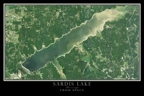 Sardis Lake Mississippi Satellite Poster Map