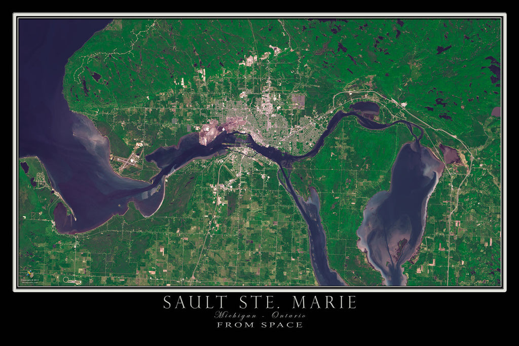 Sault Ste Marie Michigan - Ontario From Space Satellite Poster Map by TerraPrints.com. Available in multiple sizes with free shipping in the USA.