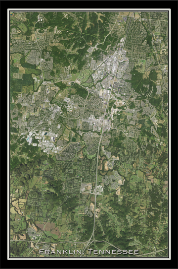 The Franklin Tennessee Satellite Poster Map