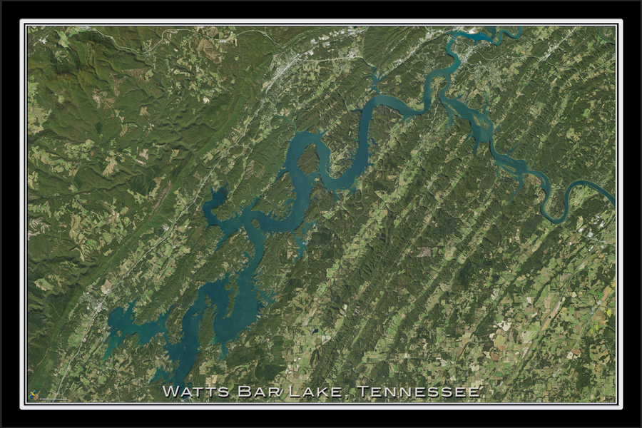 The Watts Bar Lake Tennessee Satellite Poster Map