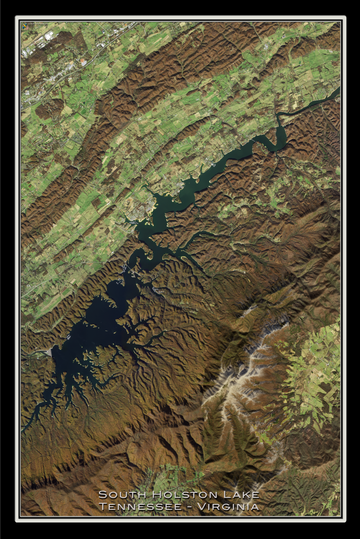The South Holston Lake Tennessee - Virginia Satellite Poster Map