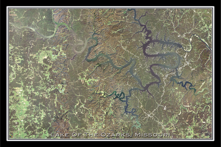 The Lake Of The Ozarks Missouri Satellite Poster Map