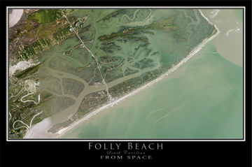 The Folly Beach South Carolina Satellite Poster Map