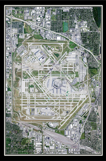 The Chicago O'Hare Intl Airport Illinois Satellite Poster