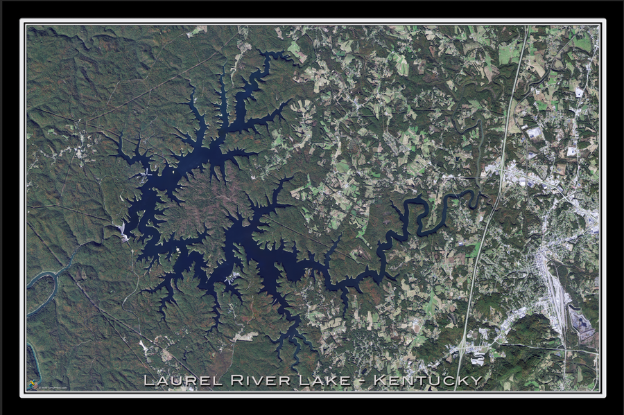 The Laurel River Lake Kentucky Satellite Poster Map