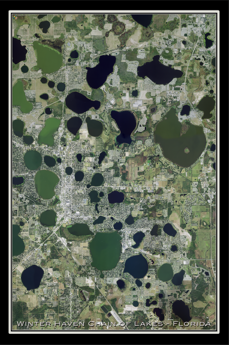The Winter Haven Chain of Lakes Florida Satellite Poster Map