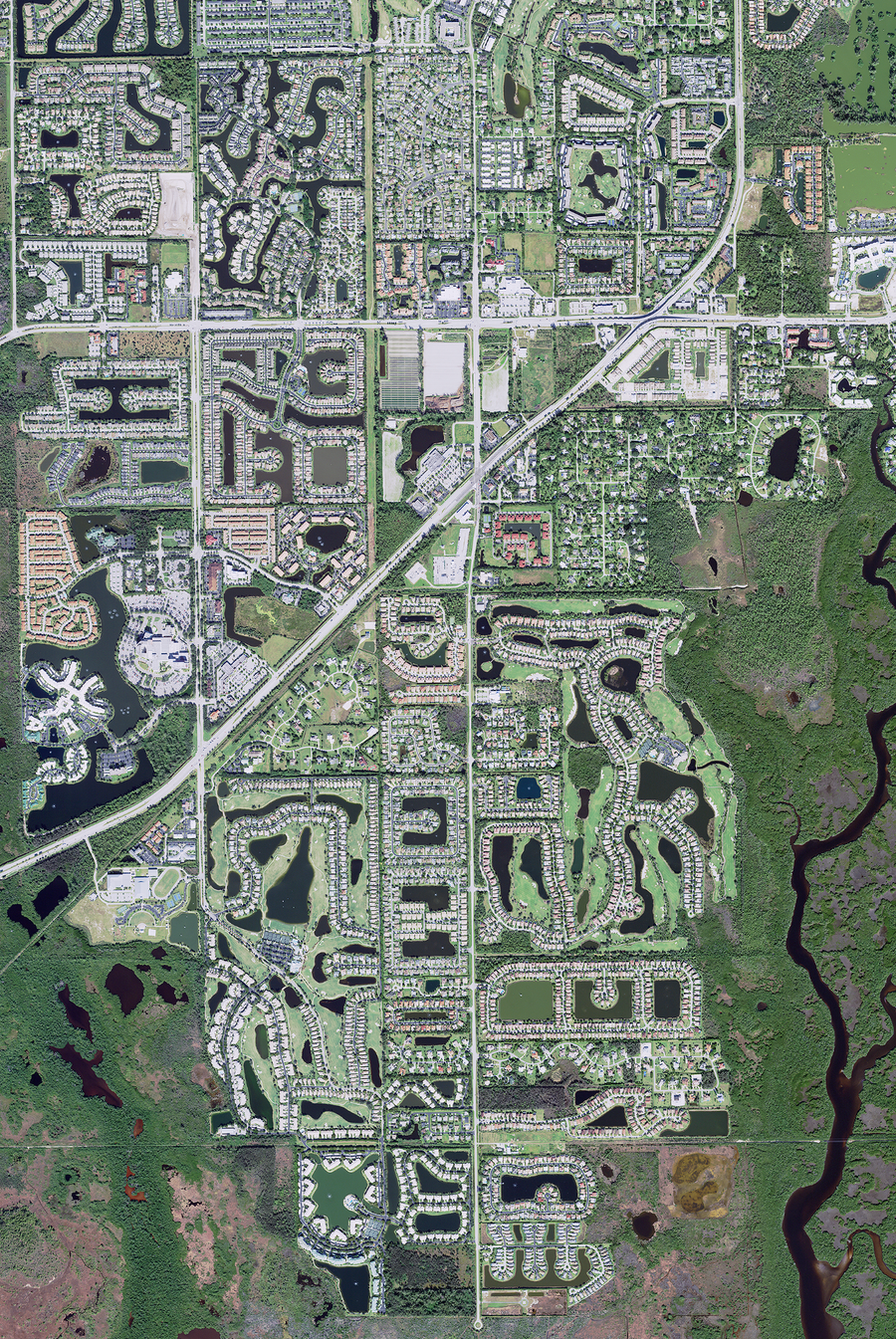 The Cape Coral - Ft Myers Florida Satellite Poster Map
