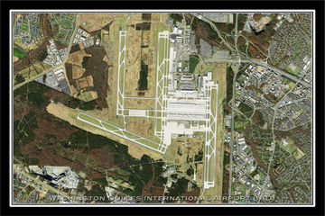 The Washington Dulles International Airport Satellite Poster Map