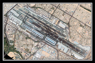 The Dubai International Airport Satellite Poster Map