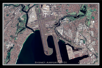 The Sydney Airport Australia Satellite Poster Map