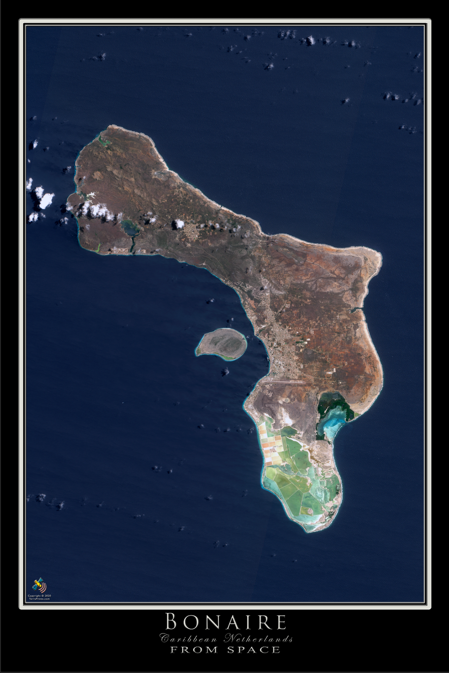 The Island of Bonaire Satellite Poster Map