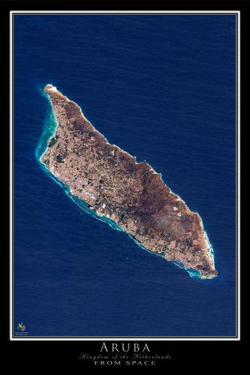 The Island of Aruba Satellite Poster Map