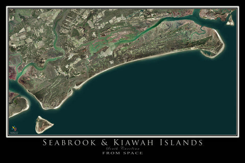 Seabrook & Kiawah Islands South Carolina From Space Satellite Poster Map by TerraPrints.com. Available in multiple sizes with free shipping in the USA.