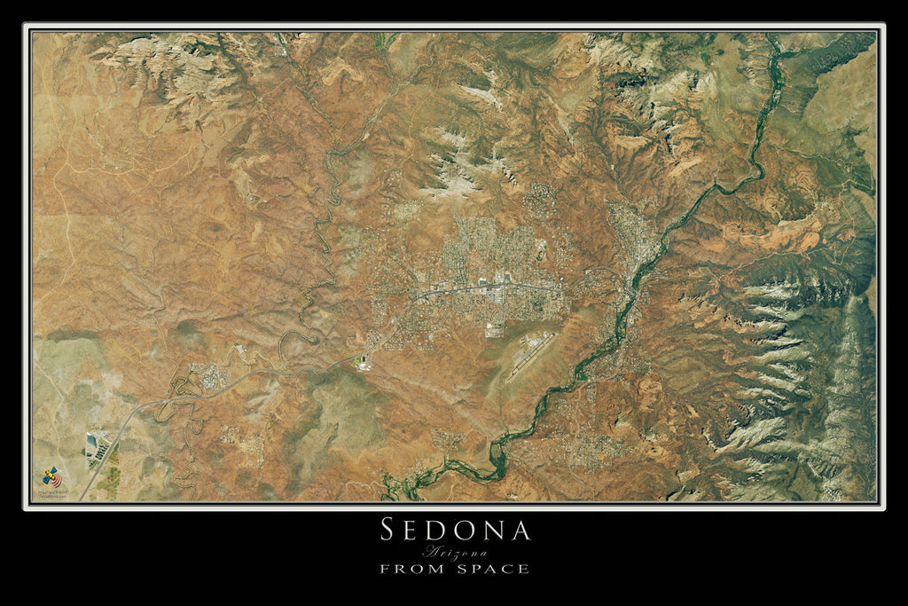 Sedona Arizona From Space Satellite Poster Map by TerraPrints.com. Available in multiple sizes with free shipping in the USA.