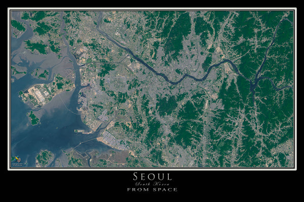 Seoul South Korea Satellite Poster Map - TerraPrints.com