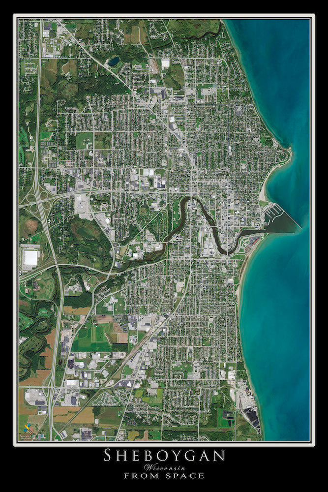 Sheboygan Wisconsin Satellite Poster Map