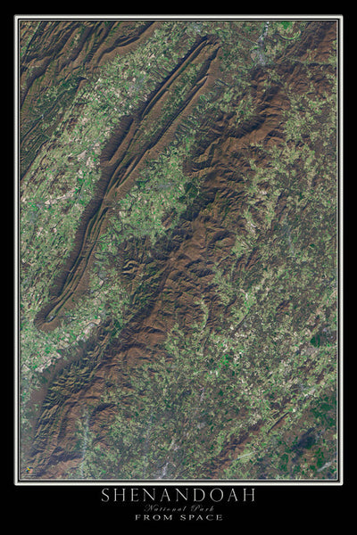 Shenandoah National Park Virginia From Space Satellite Poster Map by TerraPrints.com. Available in multiple sizes with free shipping in the USA.