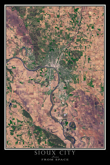 Sioux City Iowa Satellite Poster Map by TerraPrints.com. Available in multiple sizes with free shipping in the USA.