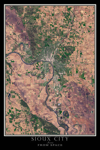 Sioux City Iowa From Space Satellite Poster Map by TerraPrints.com. Available in multiple sizes with free shipping in the USA.