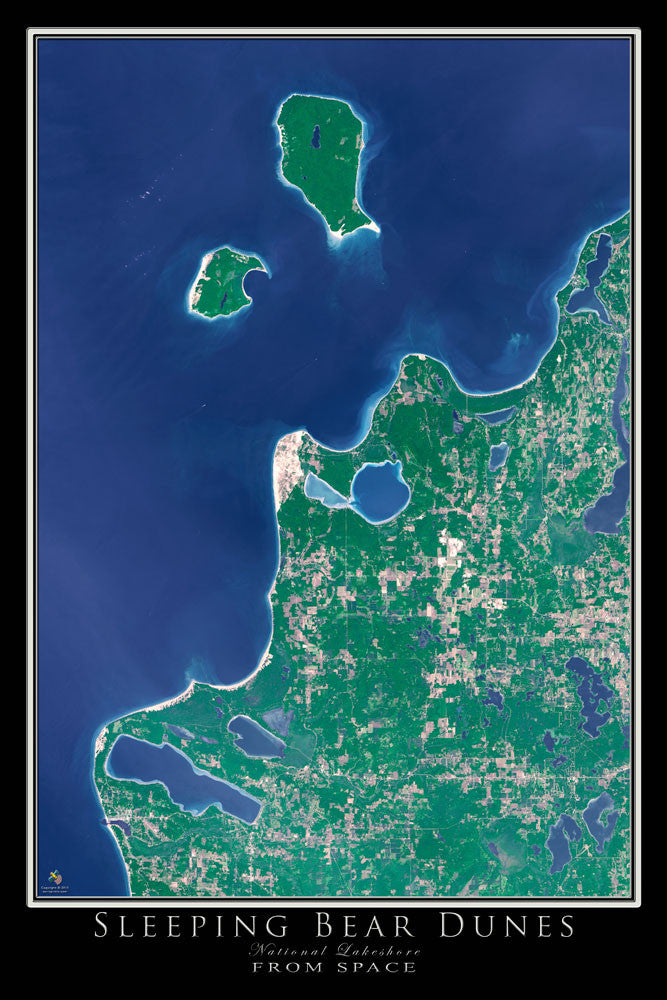 Sleeping Bear Dunes National Lakeshore Michigan From Space Satellite Poster Map by TerraPrints.com. Available in multiple sizes with free shipping in the USA.