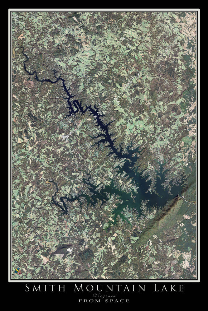The Smith Mountain Lake Virginia Satellite Poster Map