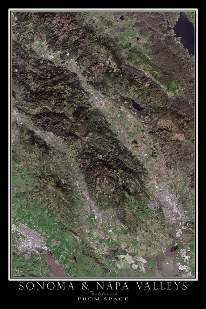 Sonoma and Napa Valleys of California From Space Satellite Poster Map by TerraPrints.com. Available in multiple sizes with free shipping in the USA.