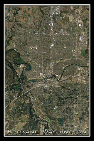 Spokane Washington From Space Satellite Poster Map - TerraPrints.com