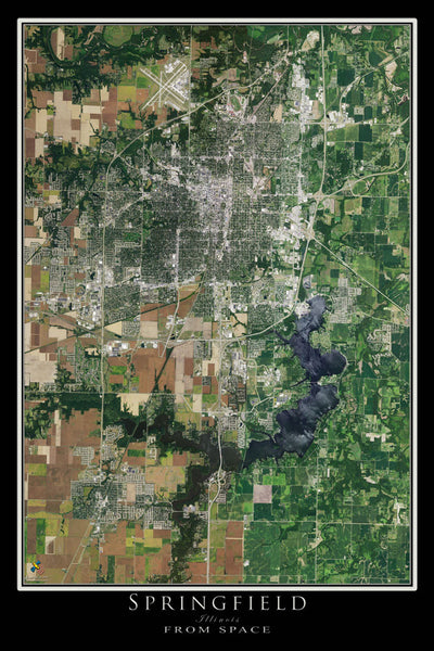 Springfield Illinois Satellite Poster Map