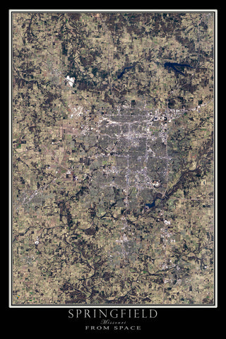 Springfield Missouri From Space Satellite Poster Map - TerraPrints.com