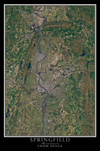 Springfield Massachusetts From Space Satellite Poster Map by TerraPrints.com. Available in multiple sizes with free shipping in the USA.
