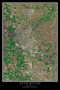 Stockton California Satellite Poster Map by TerraPrints.com. Available in multiple sizes with free shipping in the USA.