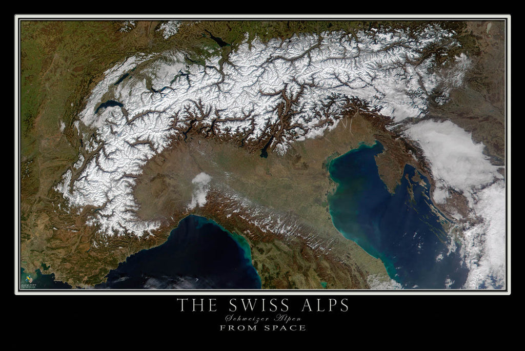 The Swiss Alps From Space Satellite Poster Map - TerraPrints.com
