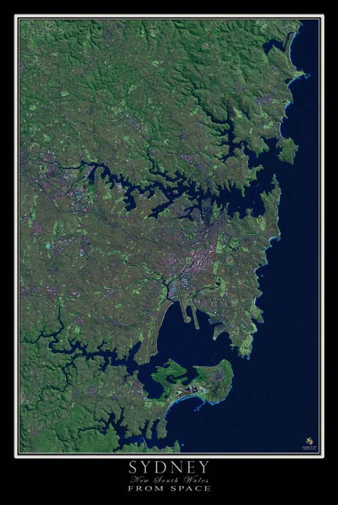 Sydney New South Wales Australia From Space Satellite Poster Map - TerraPrints.com