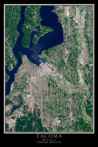 Tacoma Washington From Space Satellite Poster Map - TerraPrints.com