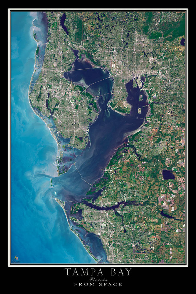 Map Of Tampa Bay Florida.Tampa Bay Florida Satellite Poster Map