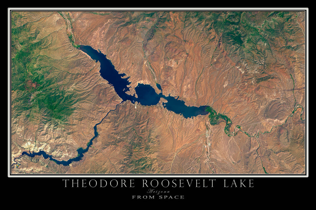 Theodore Roosevelt Lake Arizona From Space Satellite Poster Map - TerraPrints.com