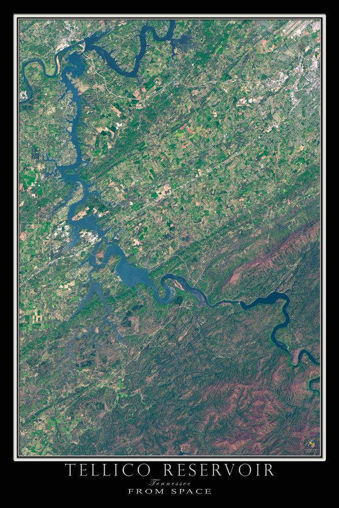 Tellico Lake Tennessee From Space Satellite Poster Map by TerraPrints.com. Available in multiple sizes with free shipping in the USA.