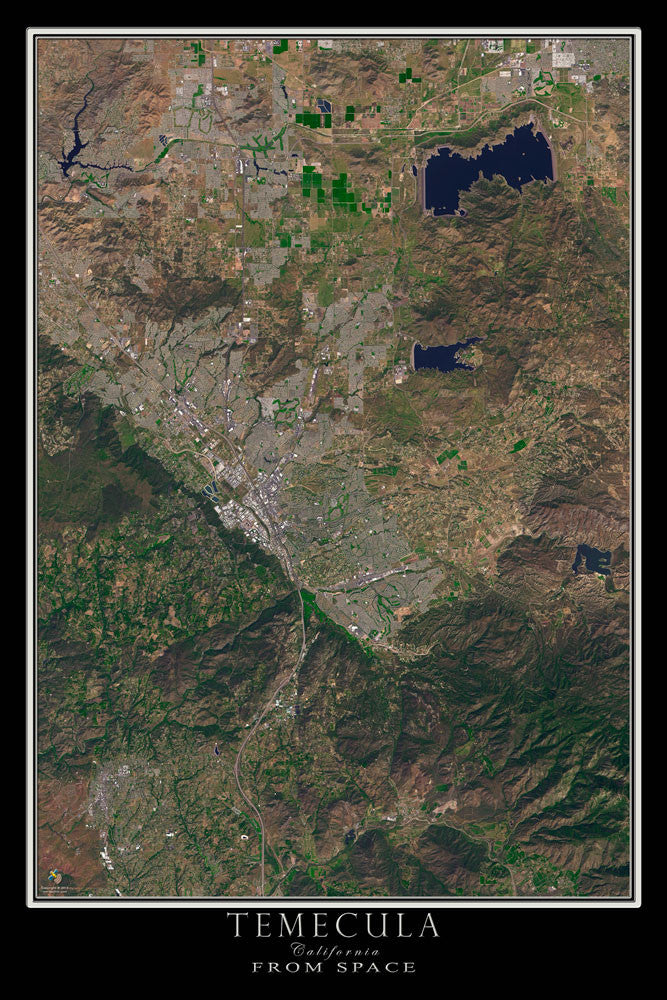 Temecula California From Space Satellite Poster Map by TerraPrints.com. Available in multiple sizes with free shipping in the USA.