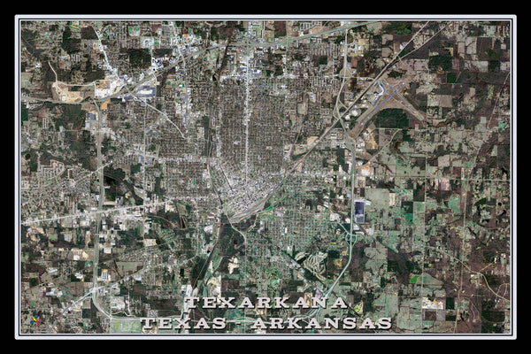 Texarkana Texas From Space Satellite Poster Map - TerraPrints.com