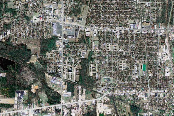 Texarkana Texas From Space Satellite Poster Map