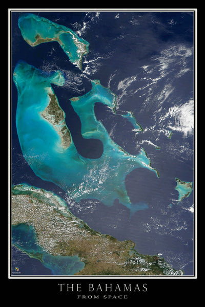 The Bahamas From Space Satellite Poster Map by TerraPrints.com. Available in multiple sizes with free shipping in the USA.